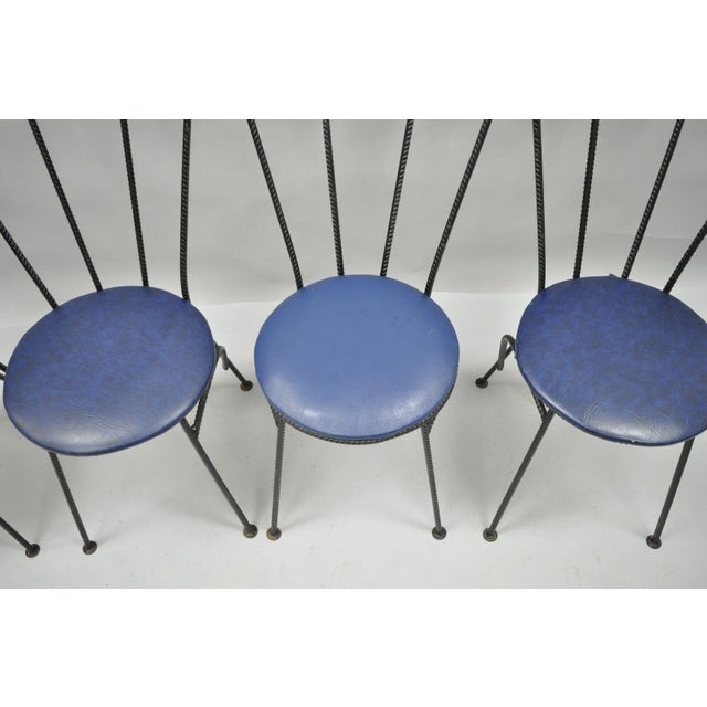 Iron 4 Vintage Mid Century Modern Brutalist Iron Rebar Dining Chairs Industrial Steampunk For Sale - Image 7 of 11
