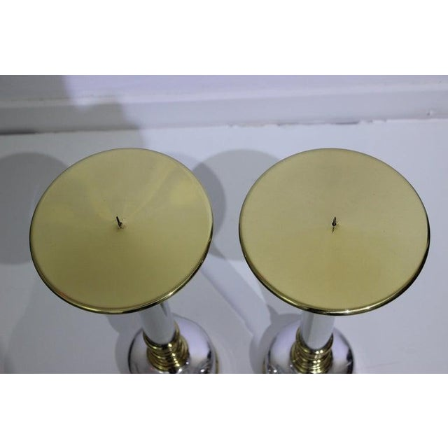 Mid-Century Modern Mid-Century Modern Candlesticks in Aluminum and Brass - a Pair For Sale - Image 3 of 13