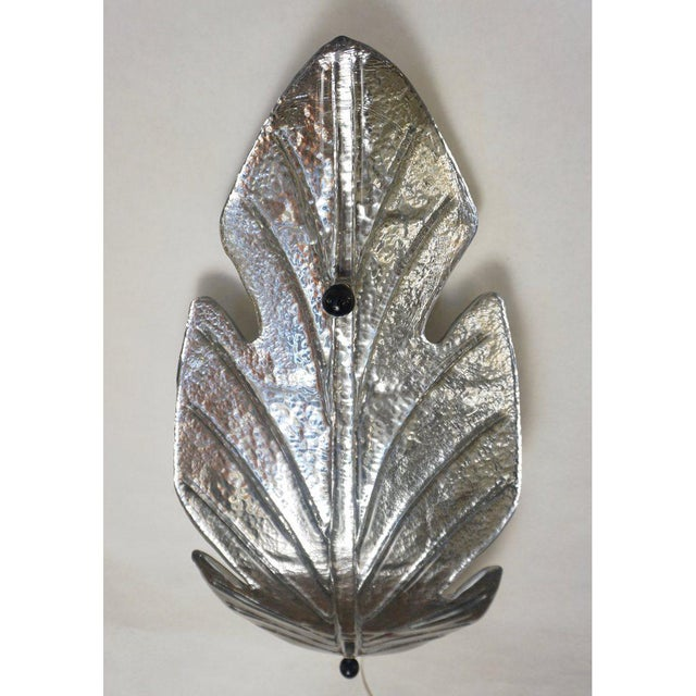Silver 1980 Italian Vintage Nickel Pair of Tall Silver Color Murano Glass Leaf Sconces For Sale - Image 8 of 10