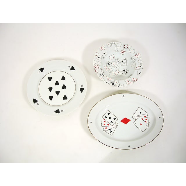 Set of 3 decorative plates with playing cards motifs by artist Donald Sultan.