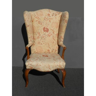 Unique Vintage French Country Floral Throne Wingback Accent Chair Preview