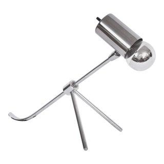 1960s Modernist Nickel-Plate Adjustable Tripod Desk Lamp For Sale