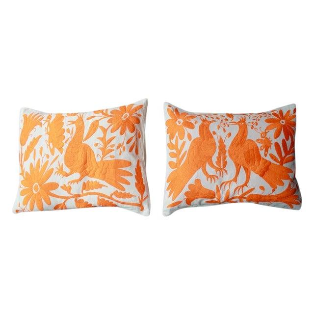 Orange Tenango Pillows - A Pair - Image 1 of 5