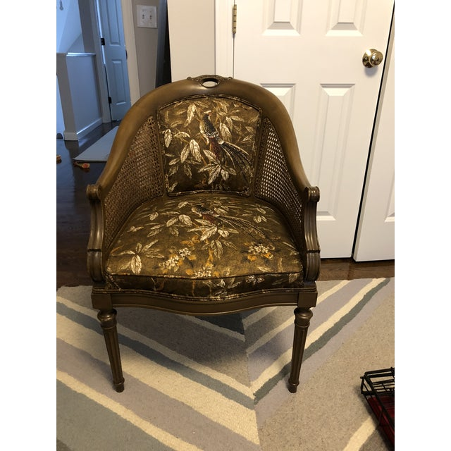 Antique Accent Chair With Caned Side Panels For Sale In New York - Image 6 of 6