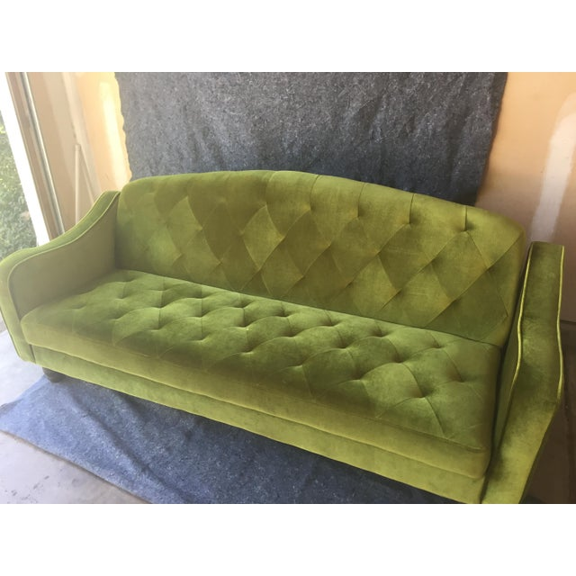 Boho Chic Anthropologie Green Velvet Tufted Convertible Sofa For Sale - Image 3 of 4