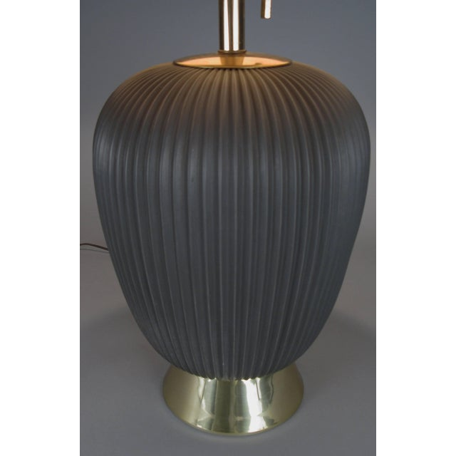 A stunning 1950s example of the rare graphite colored 'pleated' ceramic lamp by Gerald Thurston for Lightolier. Beautiful...