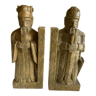 Stone Carved Royal Knights or Kings Bookends, Set of Two For Sale