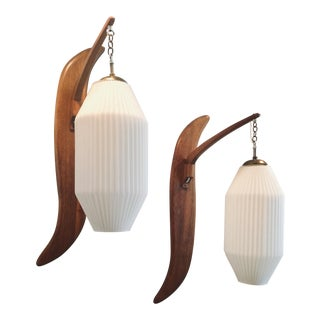 Mid Century Modern Teak Lamps - a Pair For Sale