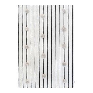 Knitted Grey Pom Pom Rug With Black Stripes - 4' X 6' For Sale