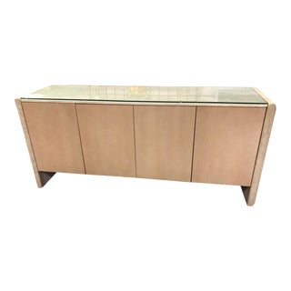 Italian Stone International Waterfall Travertine Beechwood Credenza For Sale