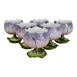 Mid Century Italian Majolica Flower Dessert Cups-Set of 6 For Sale
