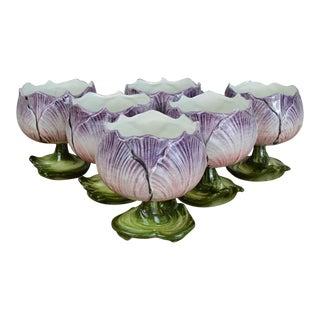Mid Century Italian Majolica Flower Dessert Cups-Set of 6
