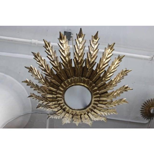 20th Century Spanish Gilt Metal Sunburst Ceiling Fixture - Image 3 of 10