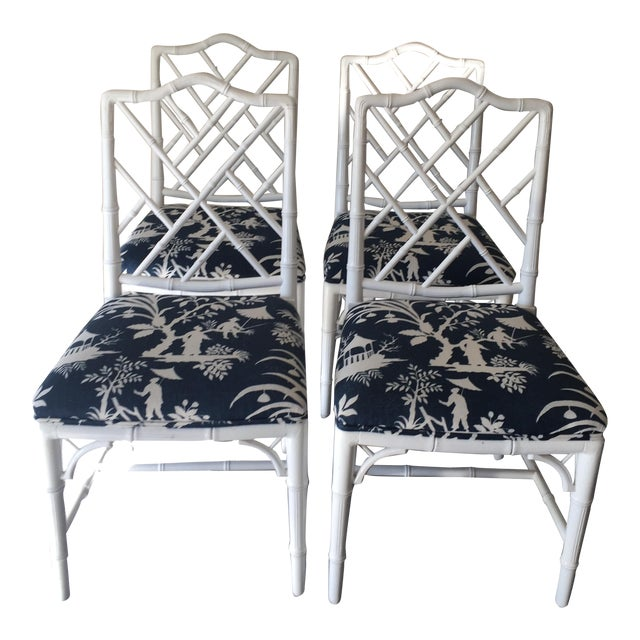 Chippendale White Bamboo Chairs - Set of 4 - Image 1 of 8