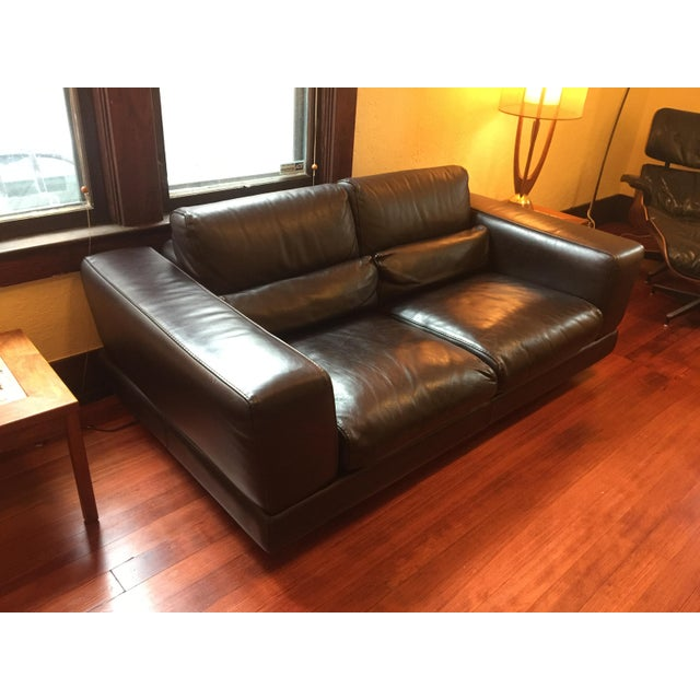 Roche Bobois Low Profile Leather Loveseat - Image 3 of 11