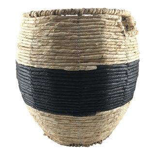 Contemporary Black Striped Basket For Sale
