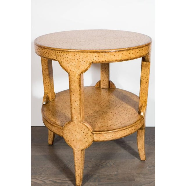 Mid-Century Modern Mid-Century Modernist Two-Tier Ostrich Skin Side Gueridon Table For Sale - Image 3 of 11