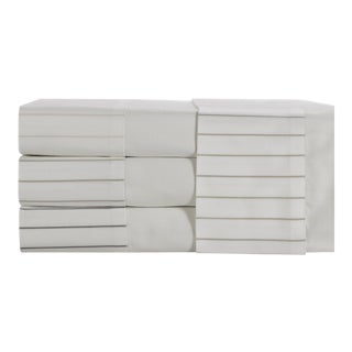 Portofino Oxford Stripe Flat Sheet Queen - Pumice For Sale