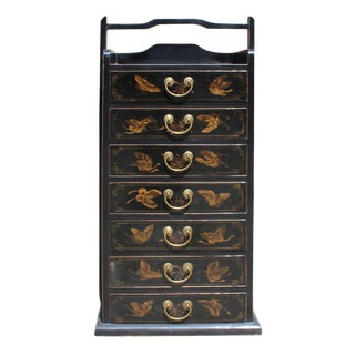 Oriental Chinese Black Golden Butterflies 7 Drawers File Storage Cabinet For Sale