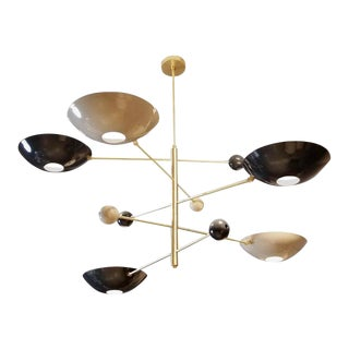"Modern ""Catalonia"" Enamel & Brass Chandelier For Sale"