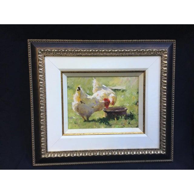 """White Leonard Wren """"Spring Chickens"""" Framed For Sale - Image 8 of 8"""