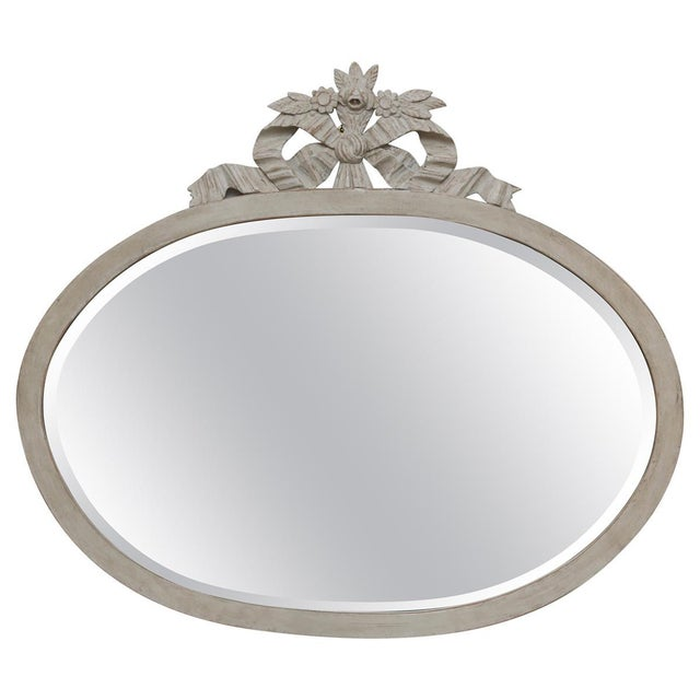 Antique Swedish Gustavian Style Painted Oval Wall Mirror, Late 19th Century For Sale In West Palm - Image 6 of 6
