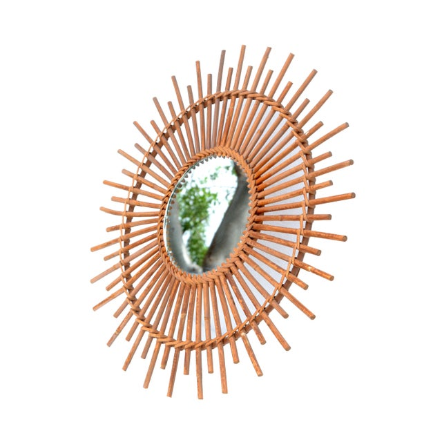 Bohemian Chic French Handcrafted Round Ficks Reed & Woven Wicker Wall Mirror For Sale - Image 4 of 13