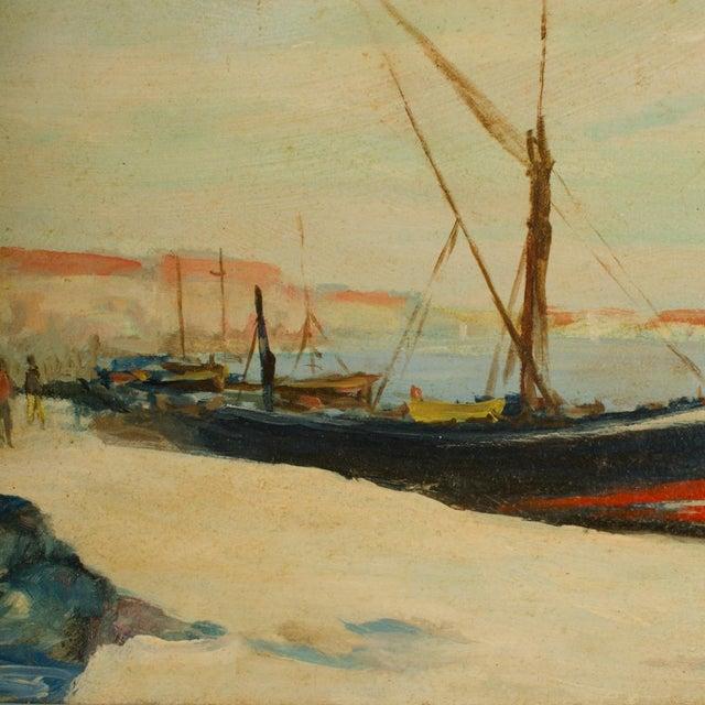 Early 20th Century Harbor Scene Oil Painting by William Fraser, Framed For Sale In Philadelphia - Image 6 of 10