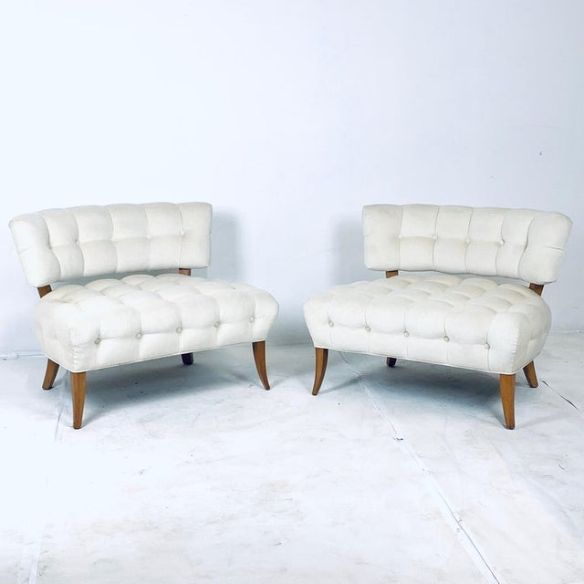 """Wiliam """"Billy"""" Haines Large Scale Regency Tufted Klismos Lounge Slipper Chairs - a Pair For Sale - Image 12 of 13"""