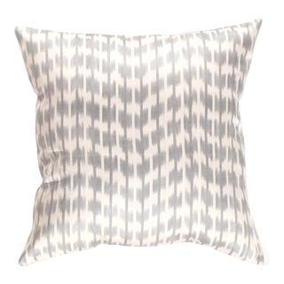 Turkish Gray Silk Ikat Pillow For Sale