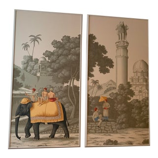DeGournay Early Views of India Framed Panels - A Pair For Sale