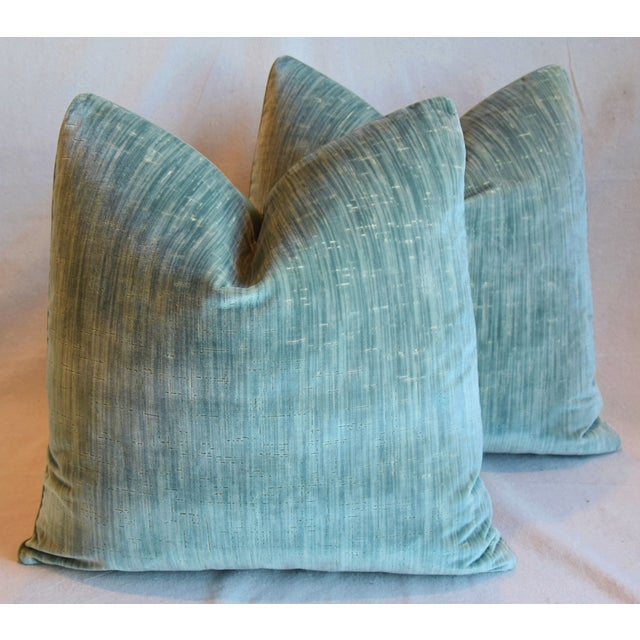 """Clarence House Velvet Fabric Feather/Down Pillows 21"""" Square - Pair For Sale - Image 12 of 13"""