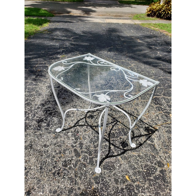 1940s Hollywood Regency Salterini Neva Rust Demilune Maple Leaf Console Table For Sale In Miami - Image 6 of 9