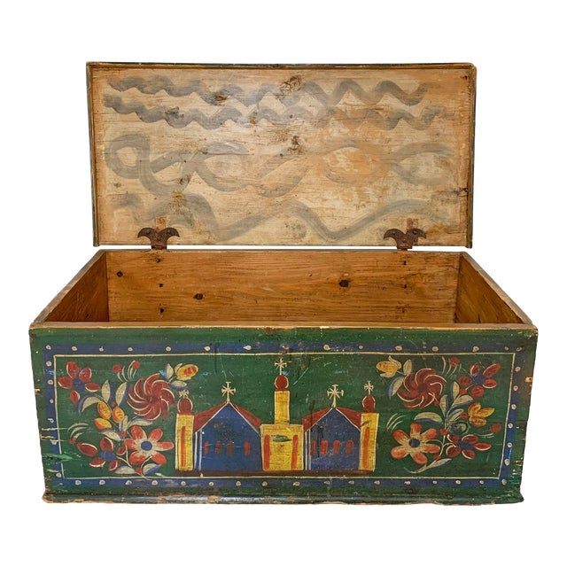 19th C. Eastern European Antique Folk Art Painted Chest For Sale