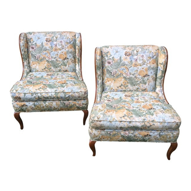 Vintage Winged Slipped Chairs in Floral - Pair - Image 1 of 9