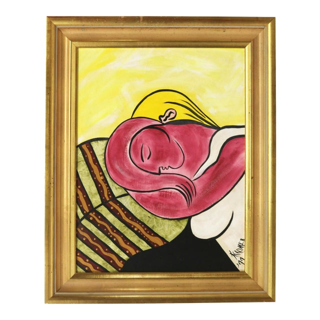 After Picasso Woman With Yellow Hair Acrylic Painting, Framed For Sale
