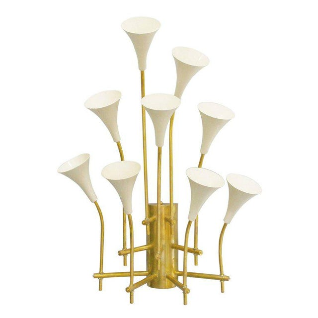 Limited edition Italian wall lights with nine cream enameled metal trumpets mounted on polished brass metal frames /...