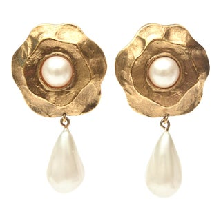 Chanel Gold Plated and Faux Pearl Camelia Flower Dangle Clip on Earrings Vintage For Sale