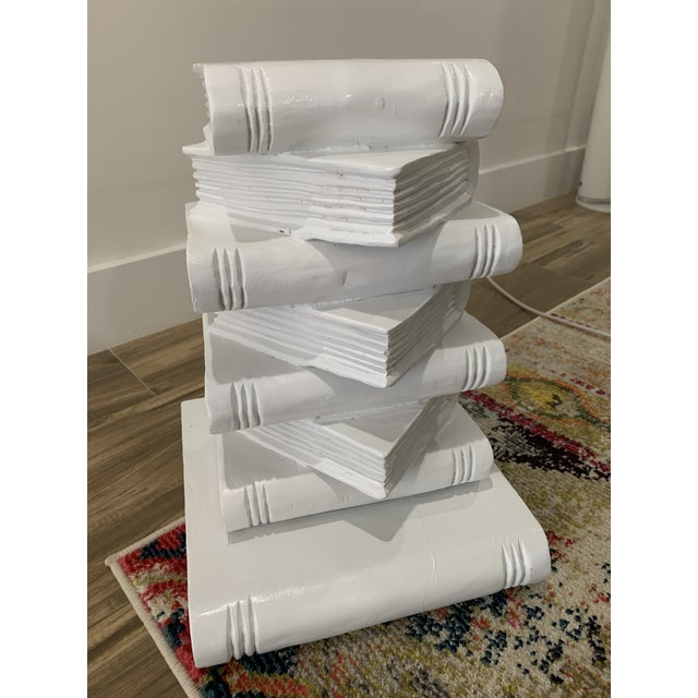 Pop Art Tromp l'Oeil Stack of Books Side Table For Sale - Image 3 of 10