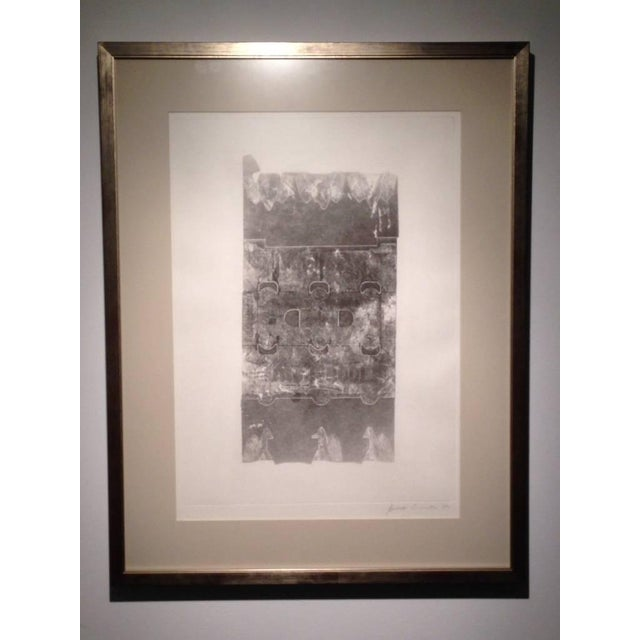 Block print of abstract design, framed and museum glass. Signed and listed artist.