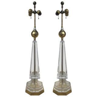 1970s Vintage Warren Kessler Glass Obelisk Lamps - A Pair For Sale