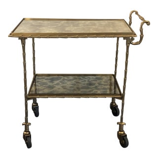 Gold Frame Antiqued Glass Bar Cart