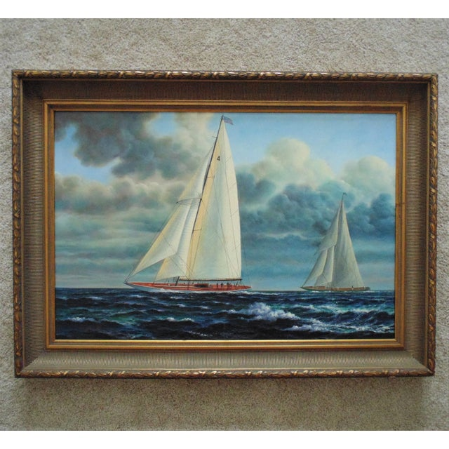 Canvas Vintage Mid-Century J. Gloguen Large Sailing Ship Schooner Nautical Signed Oil Painting For Sale - Image 7 of 7