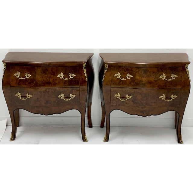 Pair of Hekman Italian Serpentine Burl Chests For Sale - Image 9 of 9