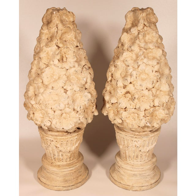 1970s Ceramic Floral Mantle Topiaries or Garden Statues - a Pair For Sale - Image 10 of 13