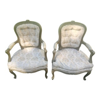 Louis XVI French Provincial Goose Down Arm Chairs - a Pair