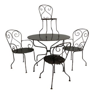 1920's French Painted Iron Garden Furniture-Set of 5 For Sale