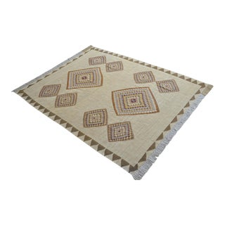 Navajo Style Flat Weave Turkish Kilim Rug. Hand Woven Silk Oushak Rug New - 6′4″ × 8′2″ For Sale