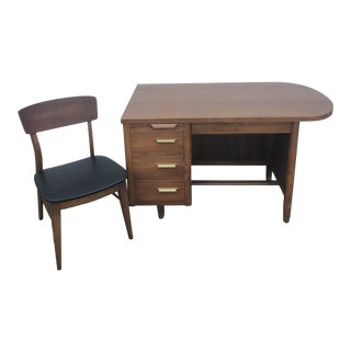 Mid Century Modern Desk by Jasper Office Furniture Co With Chair - 2 Pieces For Sale