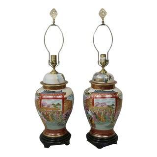 Wildwood Porcelain Japanese Satsuma Ware Lamps - A Pair
